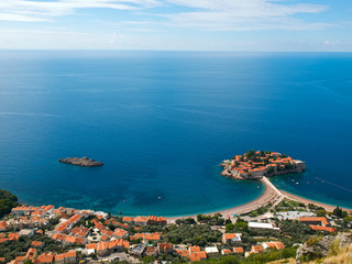 Sveti-Stefan island in Montenegro from above