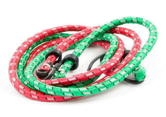 red and green bungee cords
