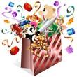 Sacchetto Carta e Giochi-Paper Bag and Toys-Vector