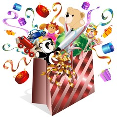 Sacchetto Carta e Giochi-Paper Bag and Toys-Vector