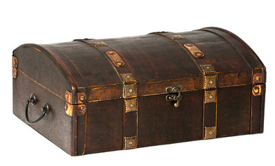 closed wooden chest on seamless background