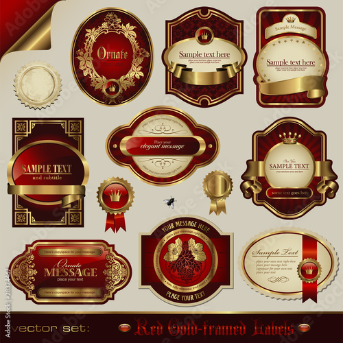 vector set: red and golden labels in different styles - 28374467