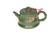 Green Chinese Teapot On White Background