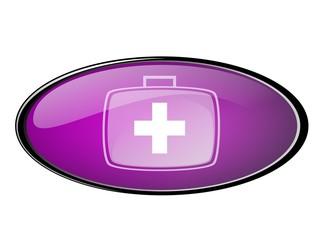 Web button in purple withemergency icon