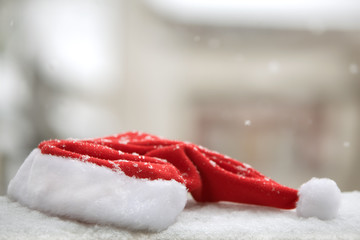 Santa red hat with snow