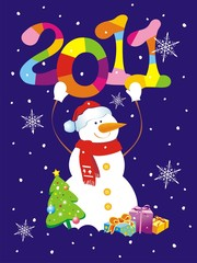Christmas background with snowman holding figure 2011