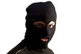 Thief wearing ski mask isolated on white
