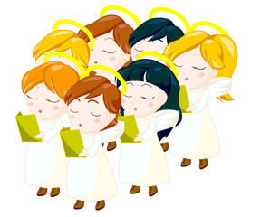 illustration of angels kids choir. clipping path included.