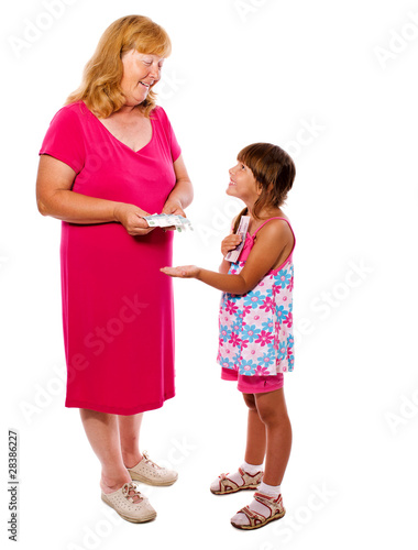 Grandmother giving money