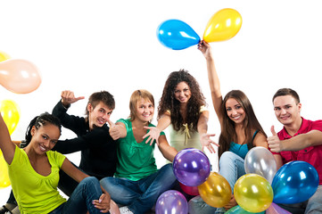 Group of happy teenagers over white background