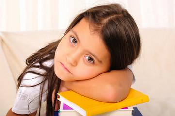 little girl has been studying