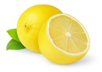 Isolated lemons. Cut fresh lemon fruits isolated on white background © Anna Kucherova