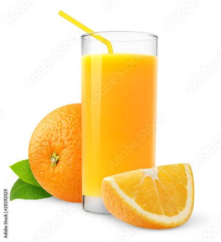 Leinwandbild Motiv Isolated fruit drink. Glass of fresh juice and orange slices isolated on white background