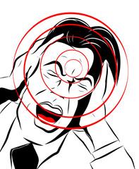 homme souffrant qui crie mains dans les oreilles
