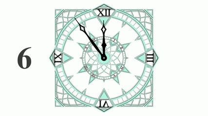 Gothic Countdown Clock From 10 to 0 Animation