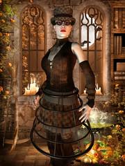 Frau mit surrealistischen Outfit