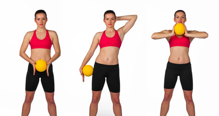 young woman exercise routine