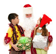 Santa gives presents to children