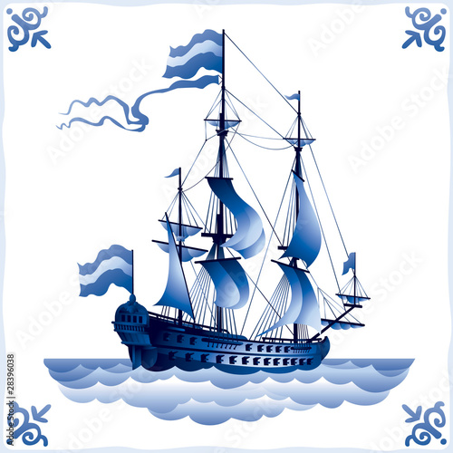 Ship on Dutch tile, frigate