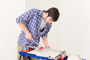 Home improvement - handyman cut tile