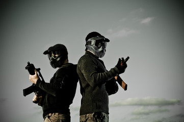 Two airsoft players