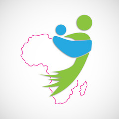 Logo african mother. Save Africa. Children # vector