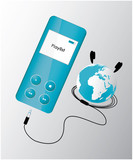 blue mp3 player with globe poster