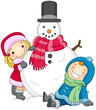 Kids Posing Beside a Snowman