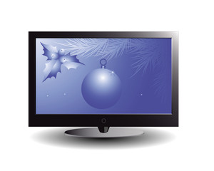 The plasma TV with the blue New Year's screen
