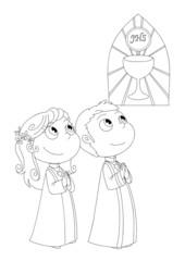 Illustrazione da colorare di bambini alla Prima Comunione