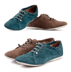 Suede sports shoes, brown and blue-green shoes in odd pairs