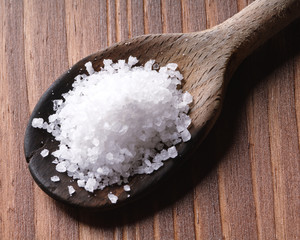 sea salt in a wooden spoon