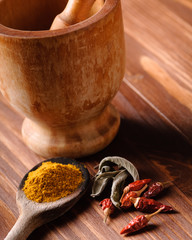 colorful spices and mortar