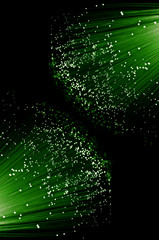 Background green fibre optics.