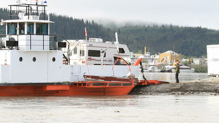 Yukon River ferry unload RV fast P HD 1464