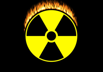 Nuclear symbol isolated on black with flames
