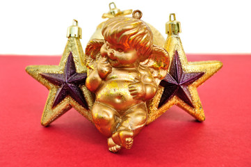 angel and golden christmas stars
