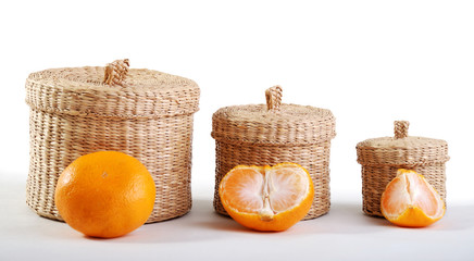 Wicker boxes and mandarin