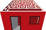 Vector illustration of complicated maze house poster