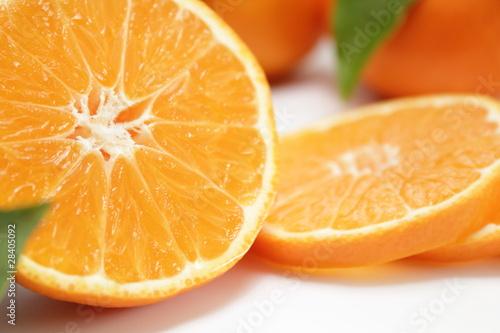 Fotobehang Plakjes fruit clementine