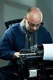 Old fashioned bald writer in glasses writing book poster