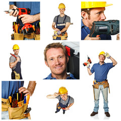 happy worker on white background