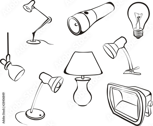 lamp, bulb, electric set sketch in black lines