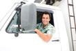 Leinwanddruck Bild - happy truck driver