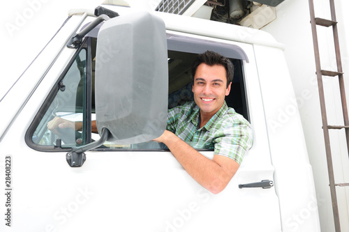 Leinwanddruck Bild happy truck driver