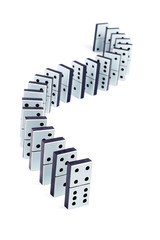 Domino pieces in a line on white background