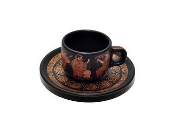 Греческая ,глиняная чашка и блюдце