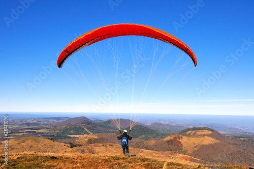 Paragliding above the chaine of volcanic hills 2 - 28411096