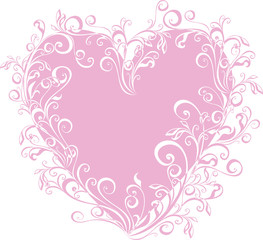 vector lacy heart with floral ornament