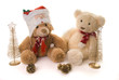 two teddy bears in a christmas scene